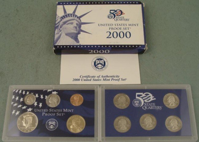 2000 U.S. Proof Set w/ Quarters, Box, & COA