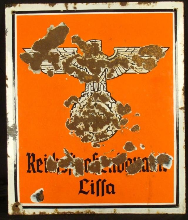 NAZI PORCELAIN ENAMELED REICHSMINISTRY SIGN -POLAND