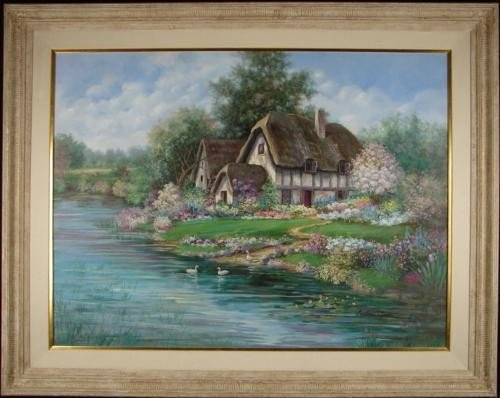 Earlene Moses Original Painting ENGLISH FARMHOUSE Art