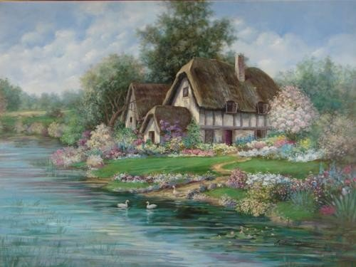 Earlene Moses Original Painting ENGLISH FARMHOUSE Art - 2