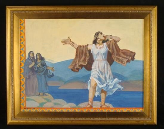 Original Painting on Canvas Religious Scene Art Large