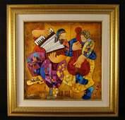 Dorit Levi Original Framed Music Oil Painting Serenade
