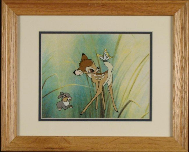 Bambi, Thumper Disney Ltd Ed Sericel w/COA Framed