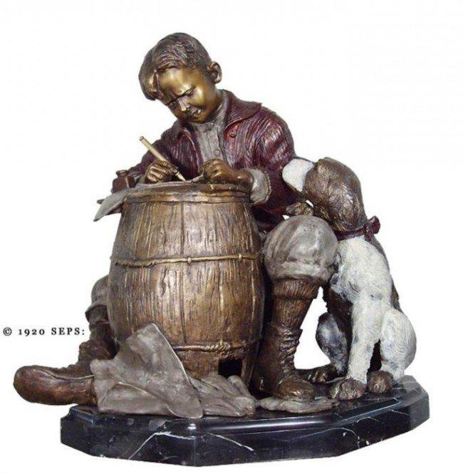 Norman Rockwell Ltd Ed Bronze Sculpture: Pen Pals