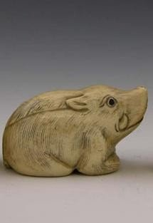 Signed Carved Ivory Netukes early 20th c of a boar