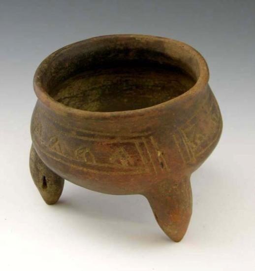 Peruvian Pre-Columbian Incised Tripodal Bowl