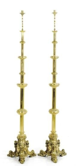 Pair Continental Brass Altar Sticks