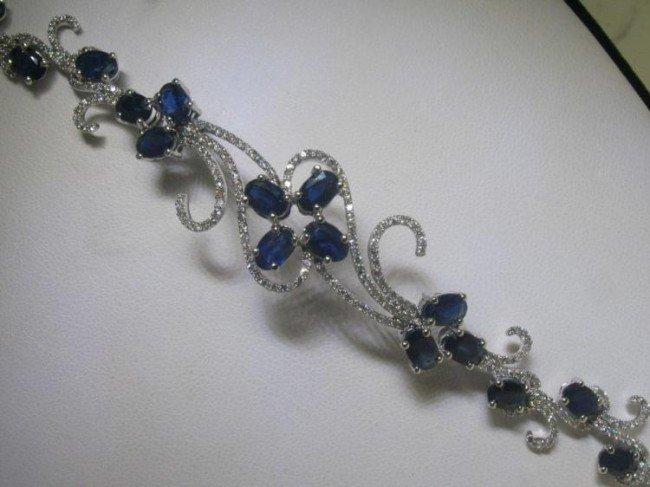 14K White Gold Blue Sapphire Diamond Vine Bracelet