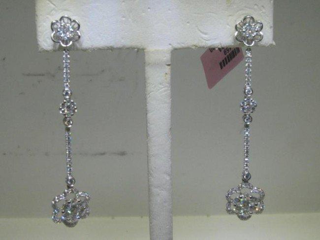 14K White Gold Diamond Flower Dangle Earrings