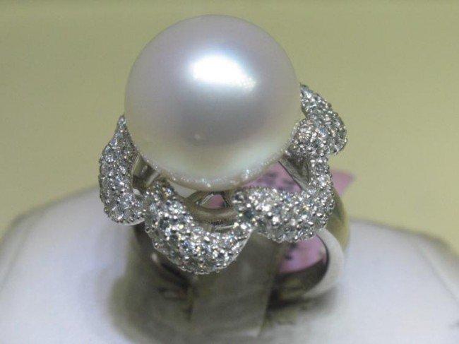 14K White Gold Pearl Diamond Ring Size 7
