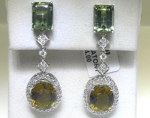 14K White Gold Diamond & Tourmaline Earrings