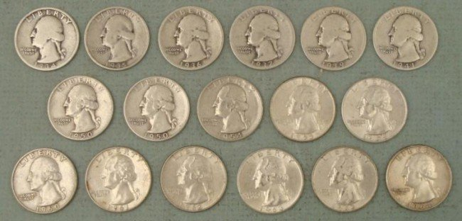 17 Diff Date Washington Silver Quarters All Nice Coins