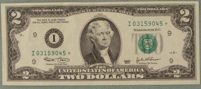 2003 $2 Star Note Two Dollar Bill I Mint Minneapolis