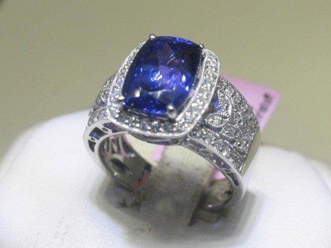 14K White Gold Tanzanite Diamond Ring Size 6 1/4
