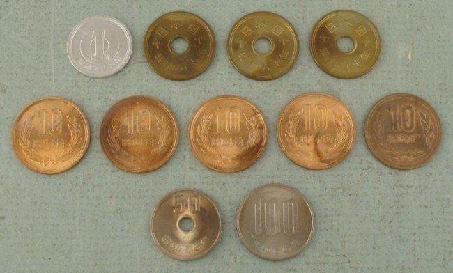 11 UNC Japanese Coins 1969 1, 5, 10, 50, 100 Yen