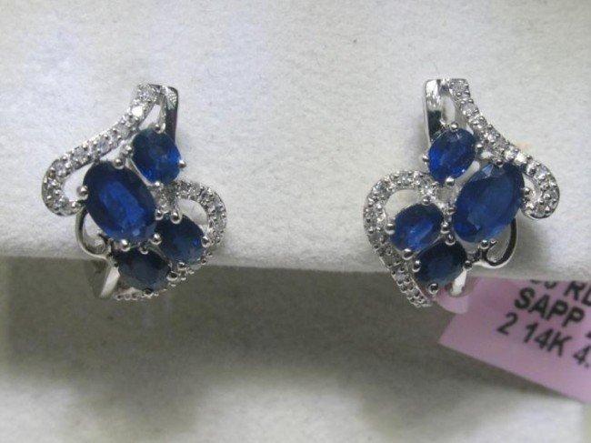 14K White Gold Elegant Blue Sapphire Diamond Earrings