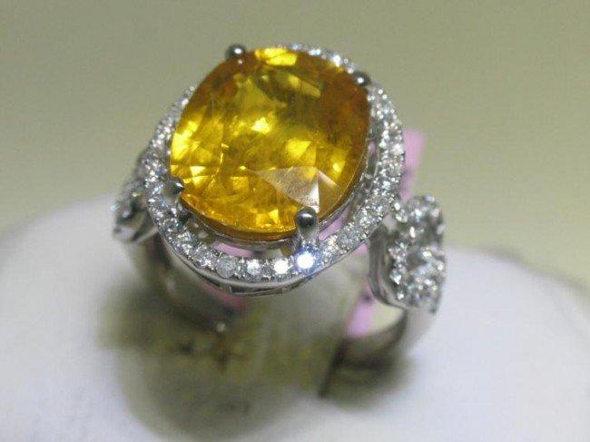 18K White Gold Oval Yellow Sapphire Diamond Ring Size 7