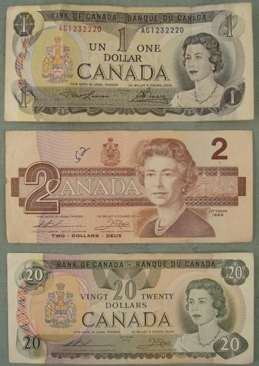3 Canada Paper Money Currency 1979 $20, 86 $2, 73 $1