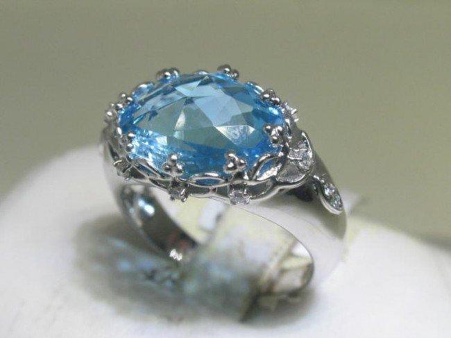14K White Gold Light Blue Topaz Diamond Ring Size 6 3/4