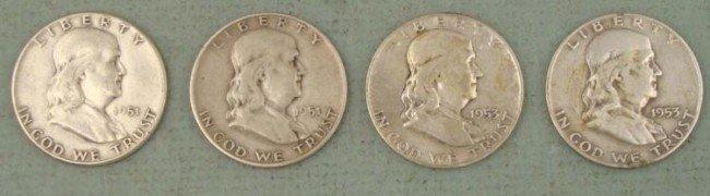 4 Diff Date Silver Franklin Halves 1951 P, D 1953 P, D