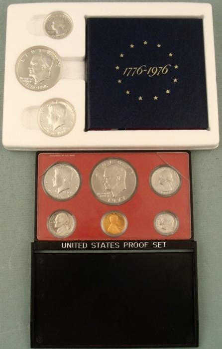 1976 Silver 3 Pc Cameo OGP & 1977 6 Pc Proof Sets