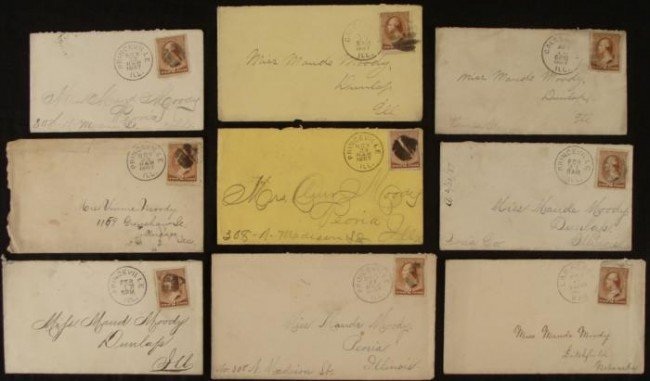 9 Washington 2c Stamps Covers Collection IL, KS 1887