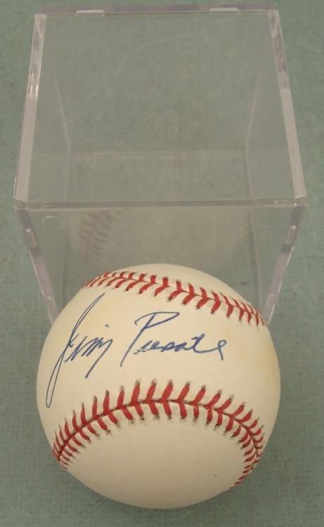 Jimmy Piersall Signed Baseball Red Sox MVP w/ Ball Cube