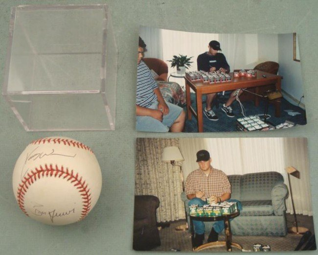 Kerry Wood & Ben Grieve Signed Baseball w/ Photo Cube