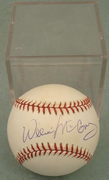 Willie McCovey Signed Baseball HOF w/ Ball Cube