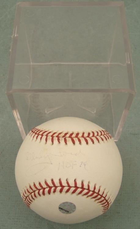 Whitey Ford Signed Baseball Yankees HOF 74 w/ Ball Cube