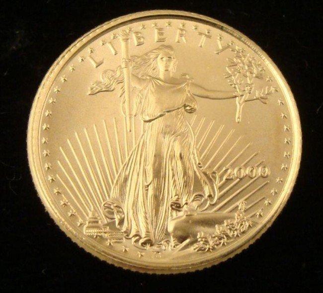 Gem UNC 2000 American Eagle $5 Gold Coin 1/10 Oz