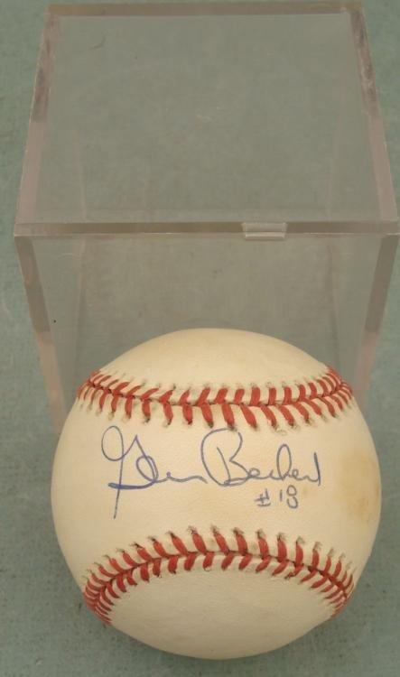 Glenn Beckert Signed Baseball Cubs w/ Cube