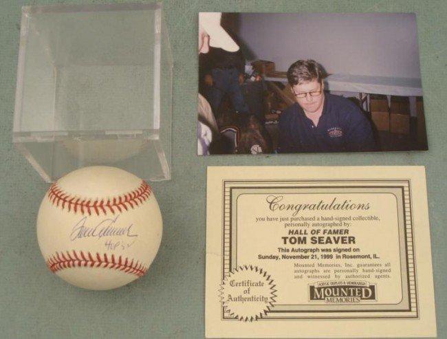 Tom Seaver Signed Baseball HOF w/ COA, Photo, Cube