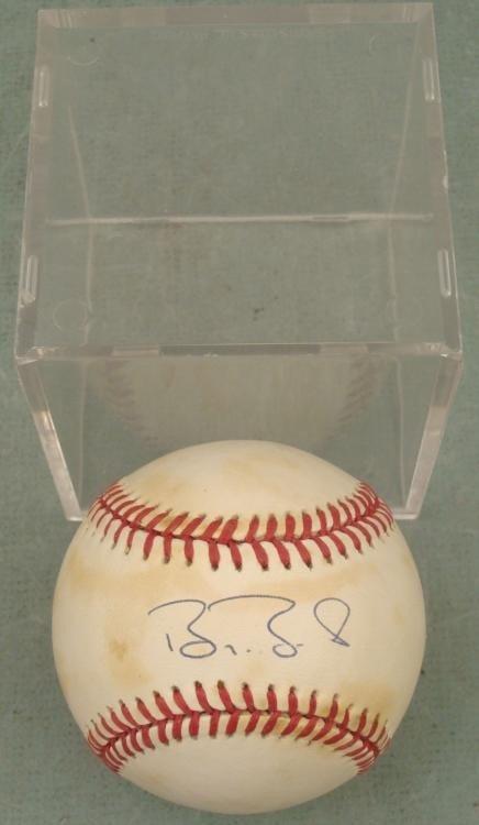 Barry Bonds Signed Baseball HOF Cubs w/ Ball Cube