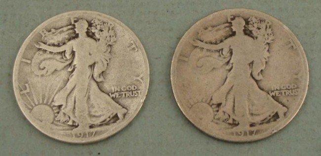 1917 S, 1917 Walking Liberty Half Dollars