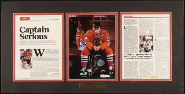Jonathan Toews Signed Chicago Blackhawks Photo Display