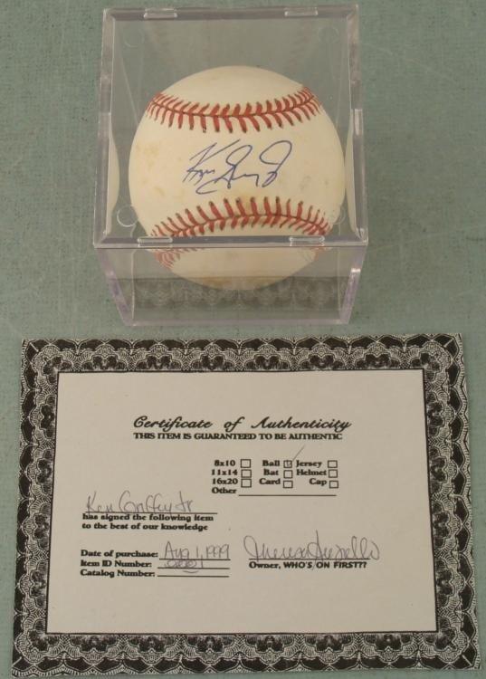 Ken Griffey Jr. Signed Baseball w/ Cube, HOF COA