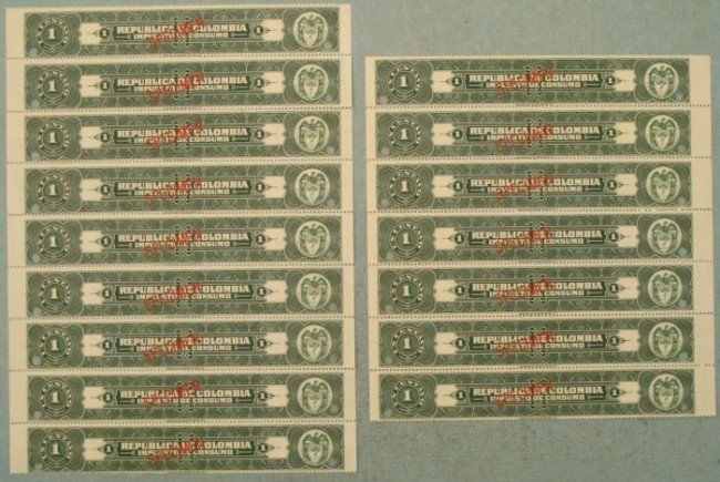16 Colombia Plate Block Specimen Tax Stamps 1 Centavos