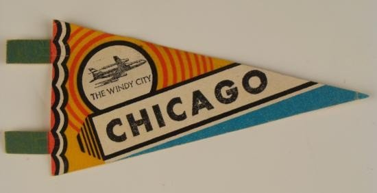 Chicago  Windy City  Vintage Pennant Airplane Illinois