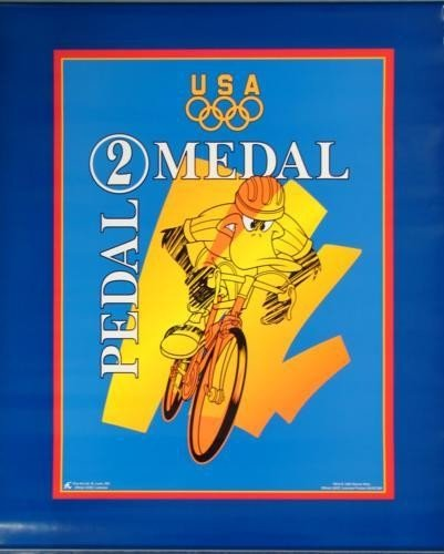 Looney DAFFY DUCK Bicycle Race 1996 Olympics Poster