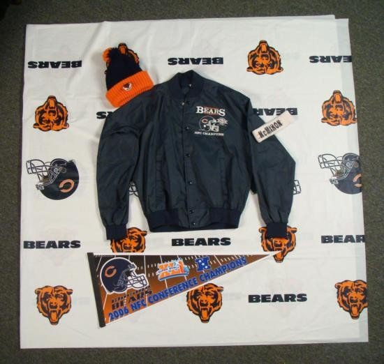 Chicago Bears NFL Lot Tablecloth Winter Hat Jacket