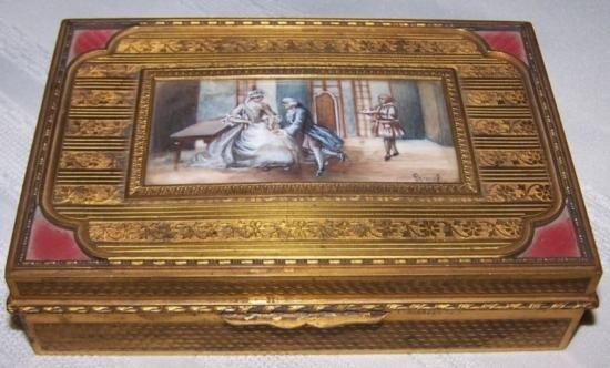 FRENCH 19thC BRONZE BOX SIGNED AND PAINTED PORTRAIT ~CO