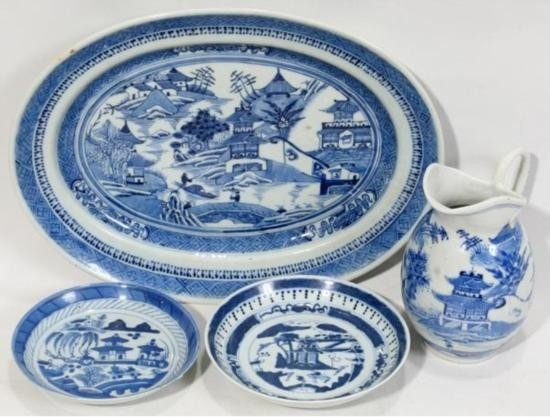 CHINESE CANTON BLUE & WHITE PLATTER, SAUCERS, & PITCHER