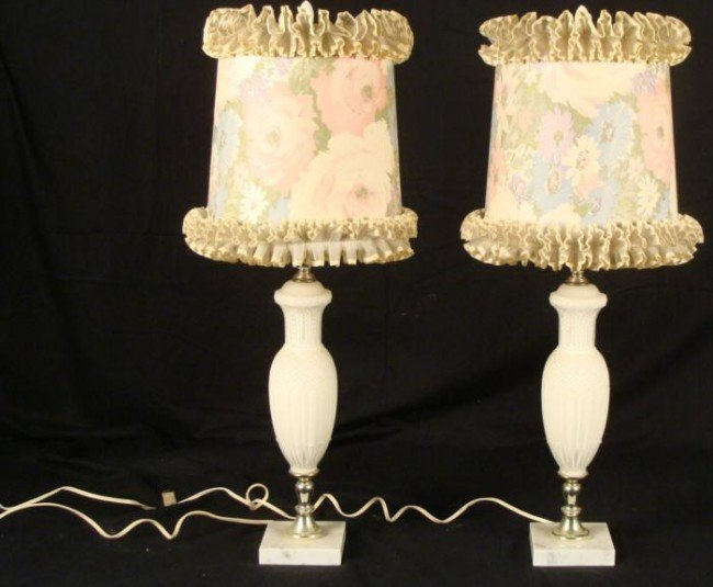 Pair Vintage White Glass Table Lamps w/ Shades