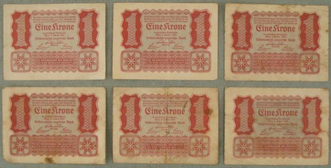 SIX 1922 AUSTRIAN EINE KRONE CURRENCY NOTES