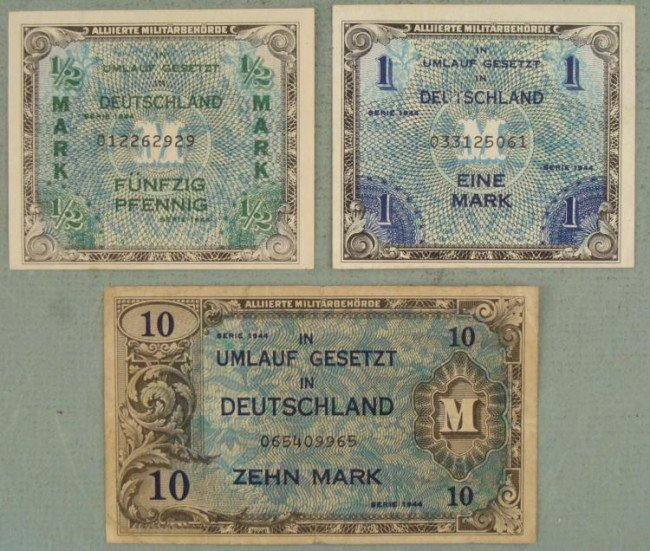 3 WWII NAZI MARK NOTED-1944-1/2, 1, 10 MARK ORIGINALS