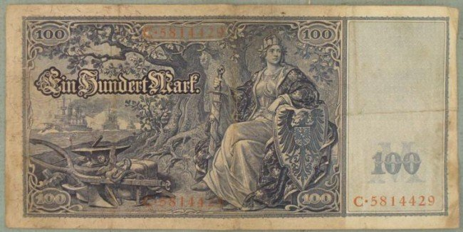 1910 GERMAN IMPERIAL 100 MARK ORIGINAL NOTE