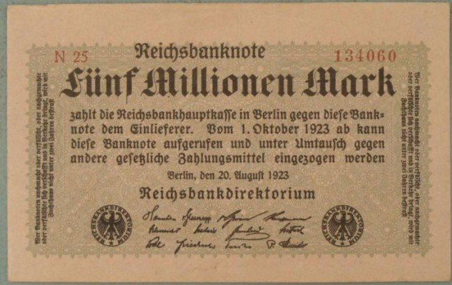 1923 GERMAN INFLATION 5 MILLION MARK BERLIN NOTE