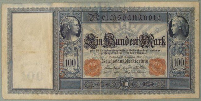 GERMAN 1909 ORIGINAL 100 RM BANK NOTE