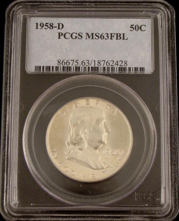 1958D PCGS MS63 FBL Silver Franklin Half Dollar -Nice